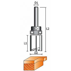 Фреза 1021-Z4 кромочная прямая (обгонная) с верхним подшипником (4 лезвия)